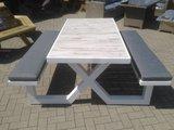 Aluminium picknick tafel met kussens_
