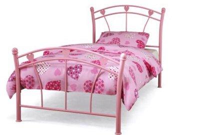 Stalen kinder bed roze op=op