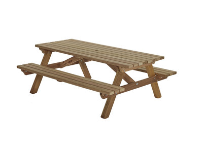 Hardhouten picknicktafel recht model
