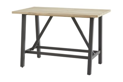 Bar tafel teak hout met aluminium