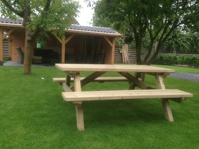 Talen picknick tafel recht model, div. lengtes